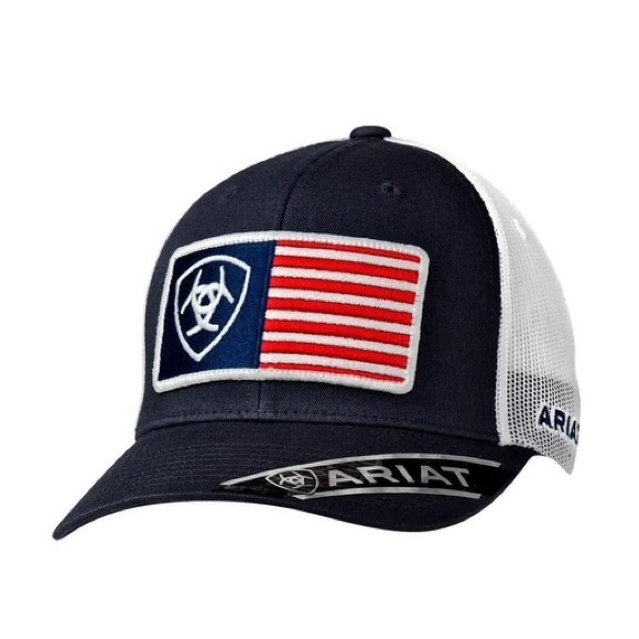 Ariat Navy and White American Flag Snap Back Cap 126b60b2d13